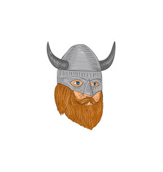 viking warrior head three quarter view drawing vector image