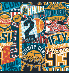 Vintage american college sport graphic patchwork vector