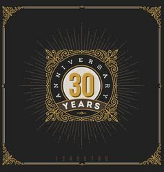 vintage anniversary logo flourishes emblem vector image