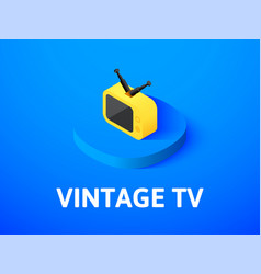 vintage tv isometric icon isolated on color vector image