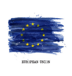 Watercolor painting flag of european union eu vector