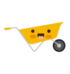 wheelbarrow flat icon colorful kawaii silhouette vector image