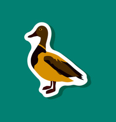 Wild duck paper sticker on stylish background vector