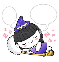 Witch character dreams halloween day isolated vector