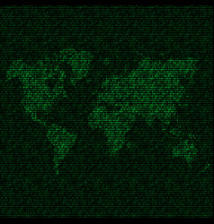 world map with binary code vector image