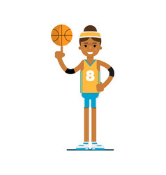 Young black woman basketball player with ball vector