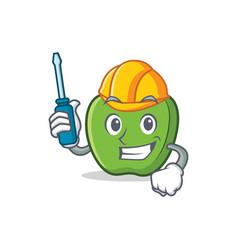 automotive green apple character cartoon vector image vector image