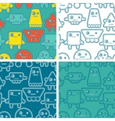 Cartoon robots seamless patterns vector image