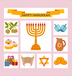 color hanukkah icons with torah menorah and vector image