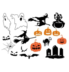 Halloween themed design elements and characters vector image