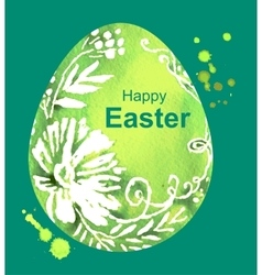 Happy Easter Green watercolor Easter Egg vector image