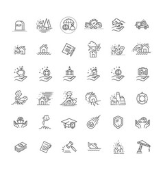 insurance icon thin line set support services vector image