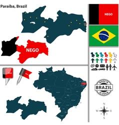Map of Paraiba vector image vector image