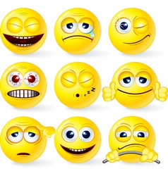 set of yellow smileys 3 vector image