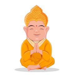 sitting buddha cute colorful cartoon character vector image