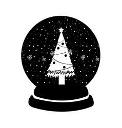 black icon christmas glass snow ball vector image