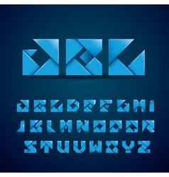Blue Origami Alphabet vector image vector image