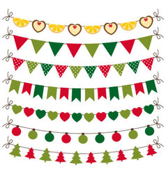 Christmas bunting and decoration set vector image vector image