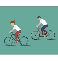 Couple Riding Bicycles vector image vector image