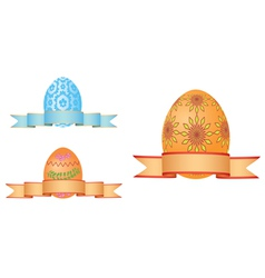 Easter eggs with ribbons vector image vector image