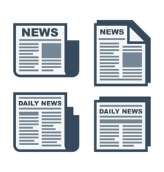 Newspaper Icons Set on White Background vector image vector image