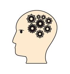 profile head gear work team vector image