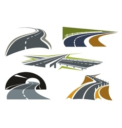 Road freeway and highway icons set vector image vector image