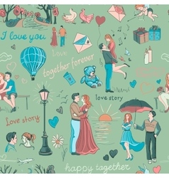 Seamless pattern with love story elements vector image