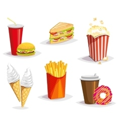 Set of colorful cartoon fast food icons on white vector image vector image