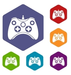 Video game controller icons set vector image