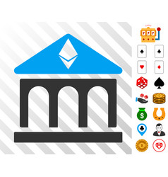 ethereum bank building icon with bonus vector image vector image