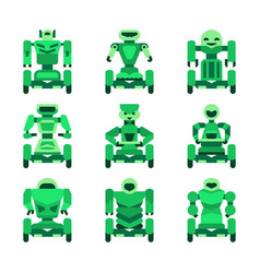 green robots on wheels icons set vector image vector image