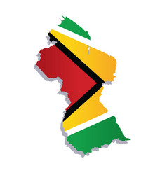 guyana flag amp map vector image