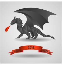 origami black dragon - symbol of 2012 year vector image vector image