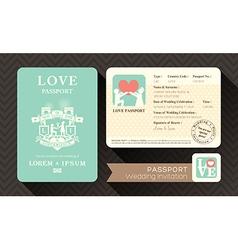 Passport Wedding Invitation card design template vector image vector image