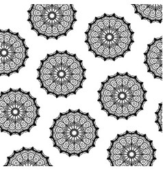Pattern of black silhouette abstract flower vector