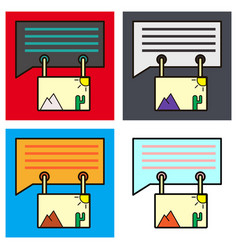 Set of flat email attachment icon paper document vector