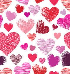 sketchy hearts seamless vector image vector image