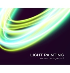 banner design with blue-green light curves vector image