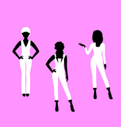 fashion woman model in suit silhouettes vector image