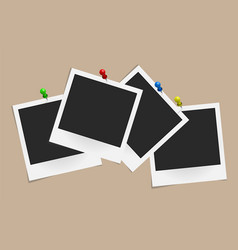 set of realistic photo frames on colored pins vector image vector image