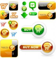 shopping button set vector image