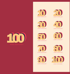 100 years anniversary set template design vector