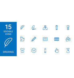 15 drawing icons vector