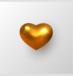 3d golden metallic heart vector image