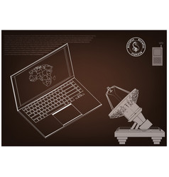 3d model of a laptop and an antenna vector image