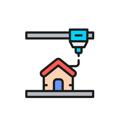 3d printing a house industrial printer flat color vector
