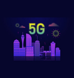5g internet connected with smart city concept vector image