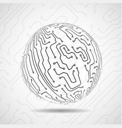 Abstract ball of circuit board vector