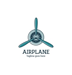 Airplane propeller logo template with radial vector image